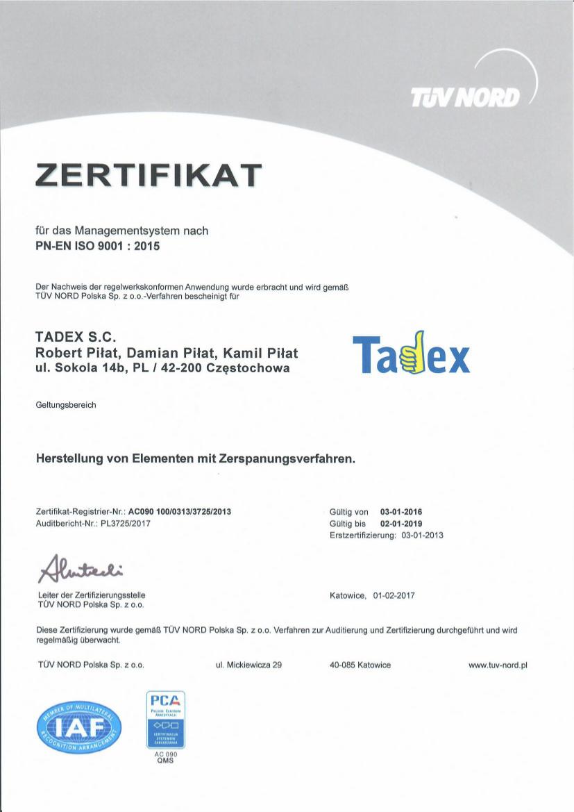 DE Certyfikat ISO 9001:2015