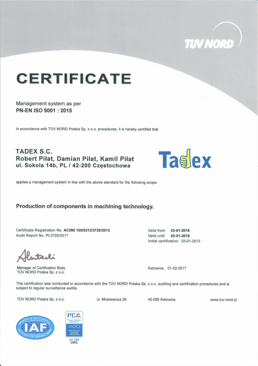 EN Certyfikat ISO 9001:2015